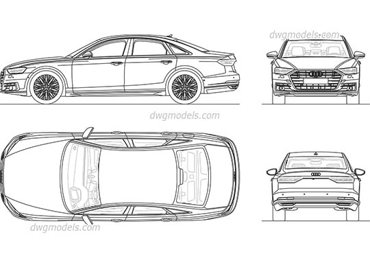 Audi A8 (2017) dwg, cad file download free
