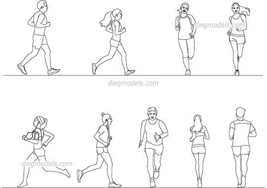 Running People dwg, cad file download free