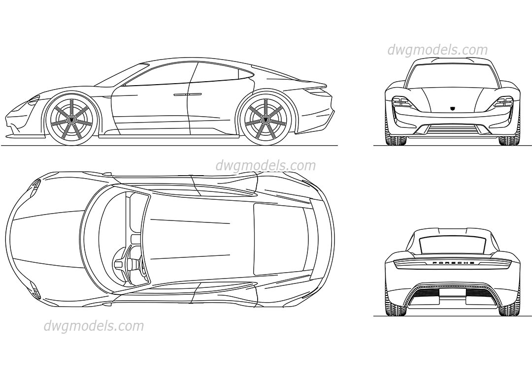 Porsche Mission E Cad Block Autocad Drawings For 3d Modeling And