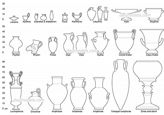 Greek Vase Shapes free dwg model