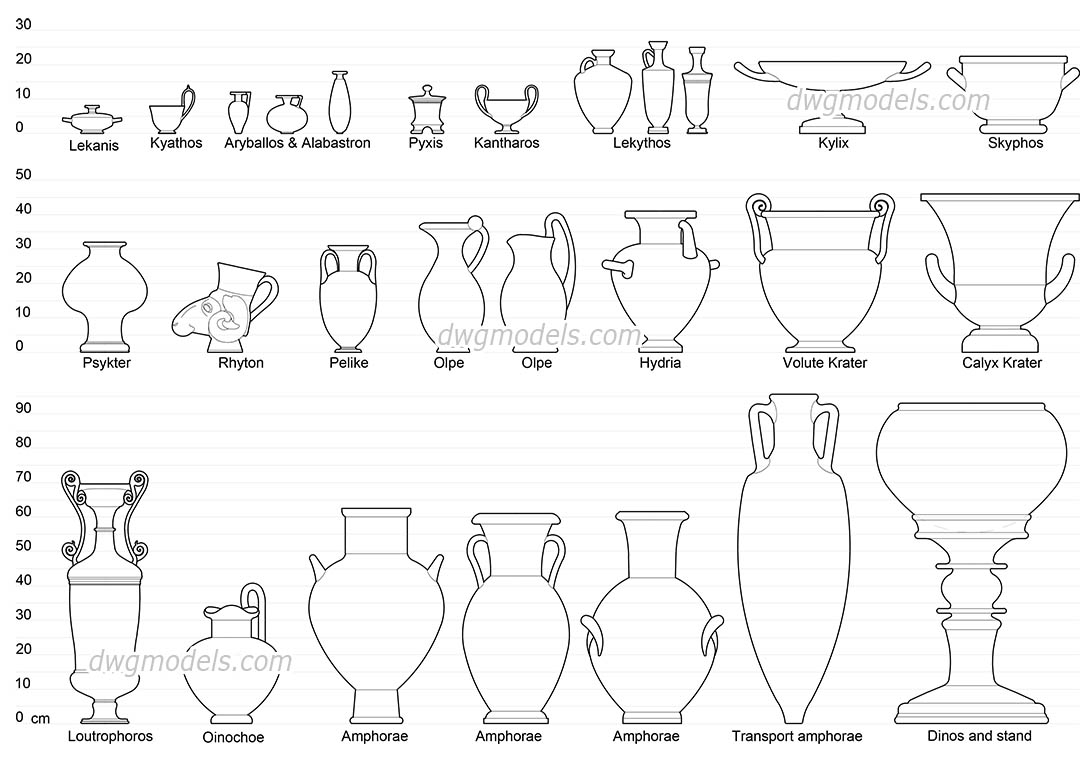 Greek Vase Shapes dwg, CAD Blocks, free download.