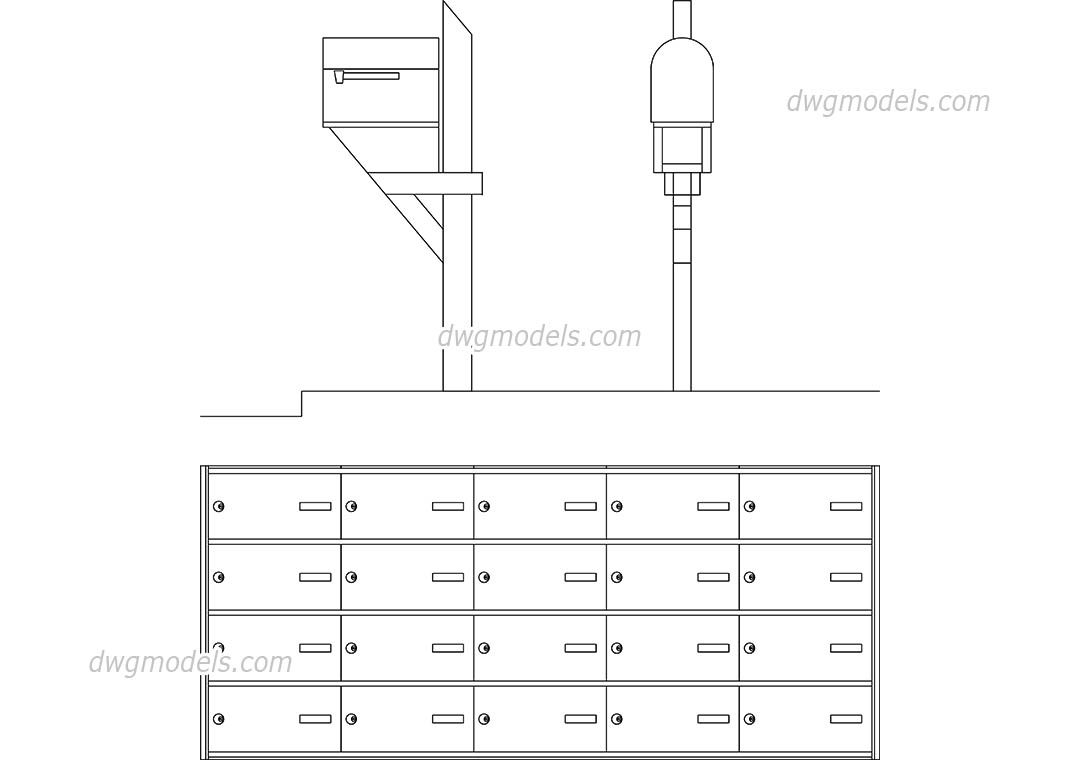 Mailboxes dwg, CAD Blocks, free download.
