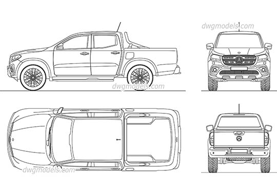 Mercedes-Benz X-Class - DWG, CAD Block, drawing