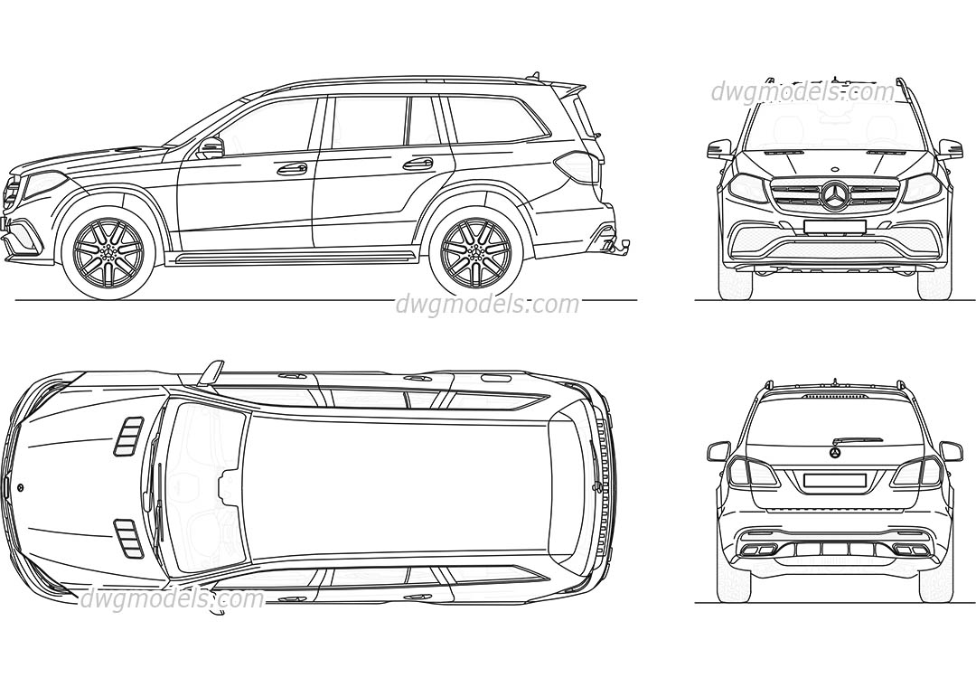 Mercedes-Benz GLS 2016 dwg, CAD Blocks, free download.