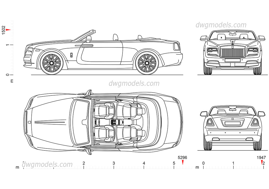 Rolls-Royce Dawn dwg, CAD Blocks, free download.