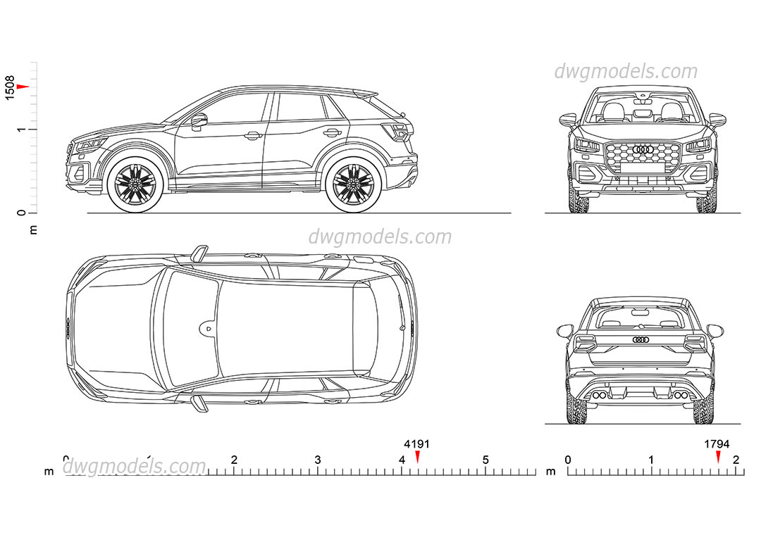 Audi Q2 (2017) dwg, CAD Blocks, free download.