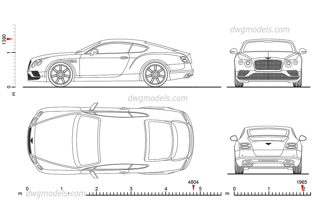 Bentley Continental GT dwg, CAD Blocks, free download.