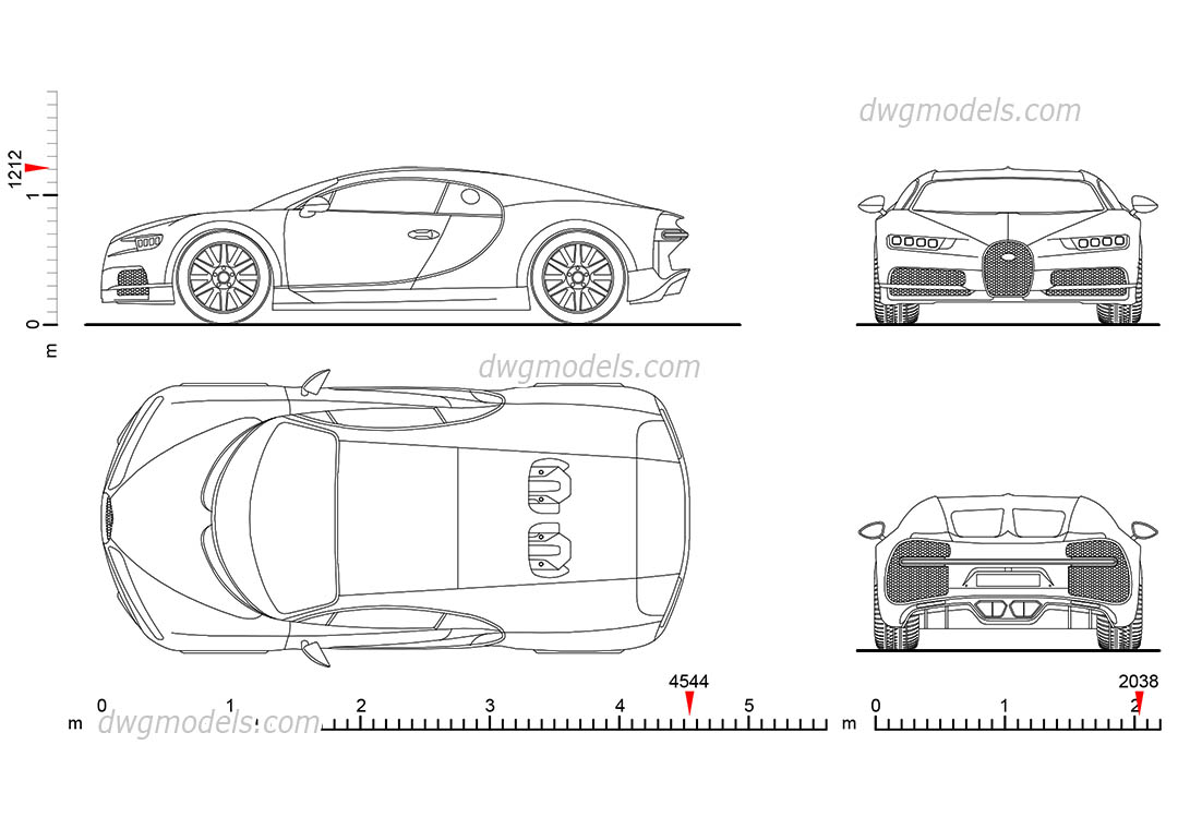 Bugatti Chiron dimensions, 2D model, free CAD DWG download