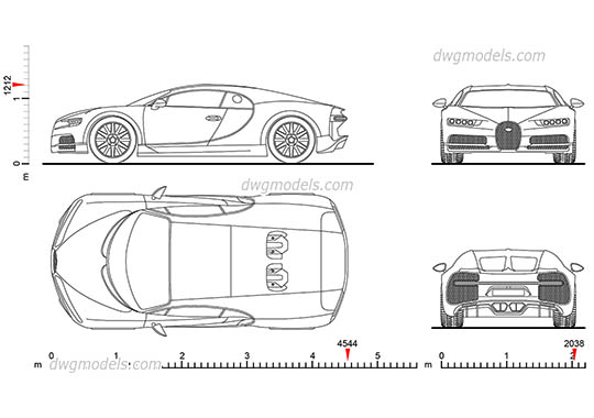 Bugatti Chiron (2016) - DWG, CAD Block, drawing