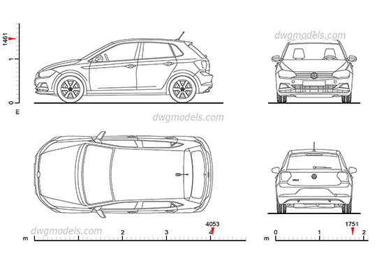 Volkswagen Polo (2017) AutoCAD blocks