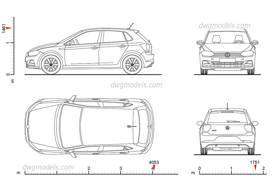 Volkswagen Polo 2017 Drawings Dimensions Cad Block Download