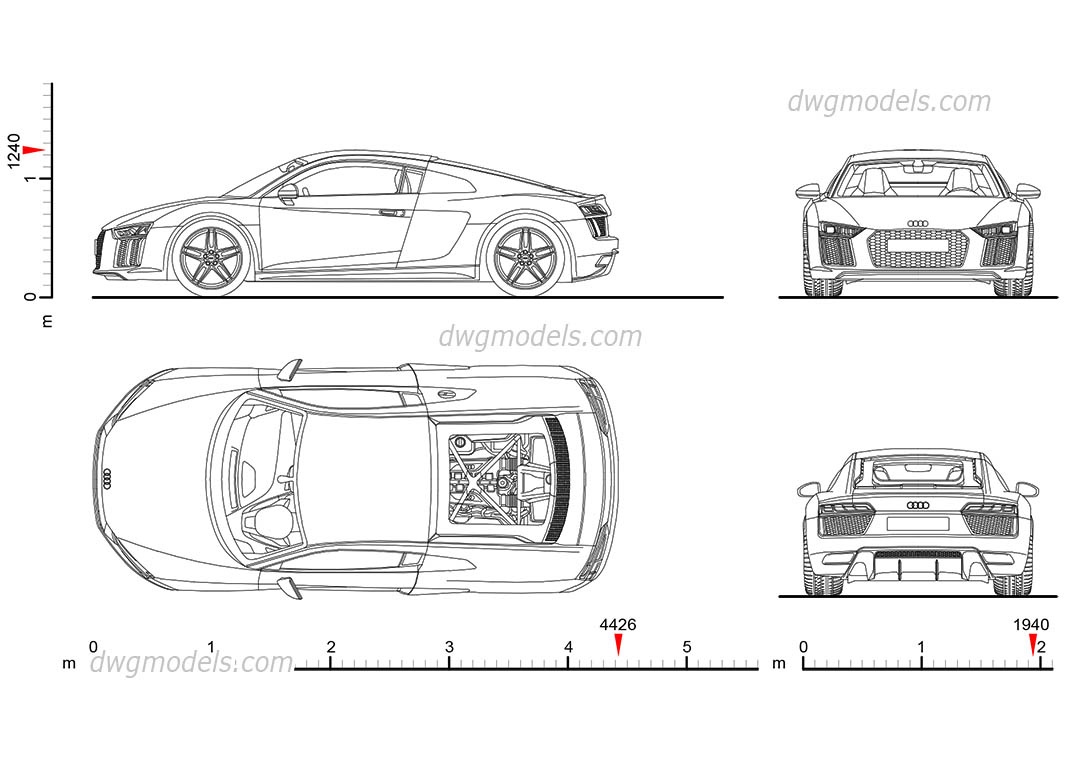 Audi R8 (2015) drawings, AutoCAD blocks download, dimensions, 2D model