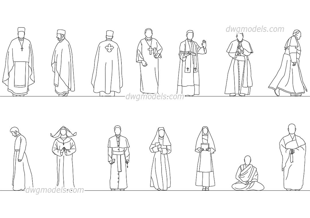 Religious Figure dwg, CAD Blocks, free download.