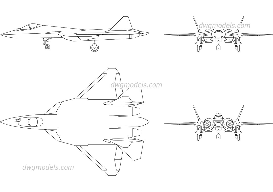 Sukhoi Su-57 dwg, CAD Blocks, free download.