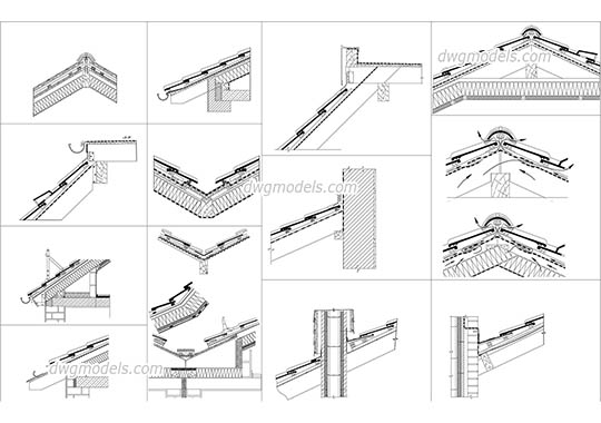 Roof Section Details free dwg model