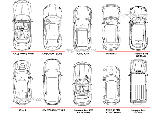 Cars Top View dwg, cad file download free
