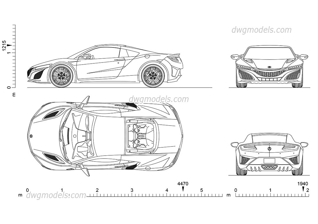 Acura nsx 2d autocad model cad blocks download car with 2d design free download