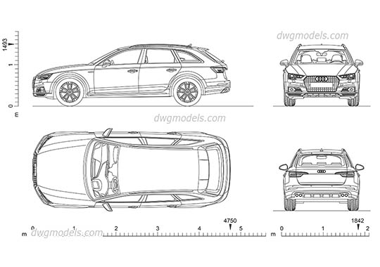 Audi A4 Allroad AutoCAD blocks