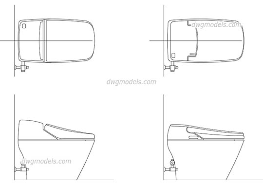 Electronic Bidet Toilet - DWG, CAD Block, drawing