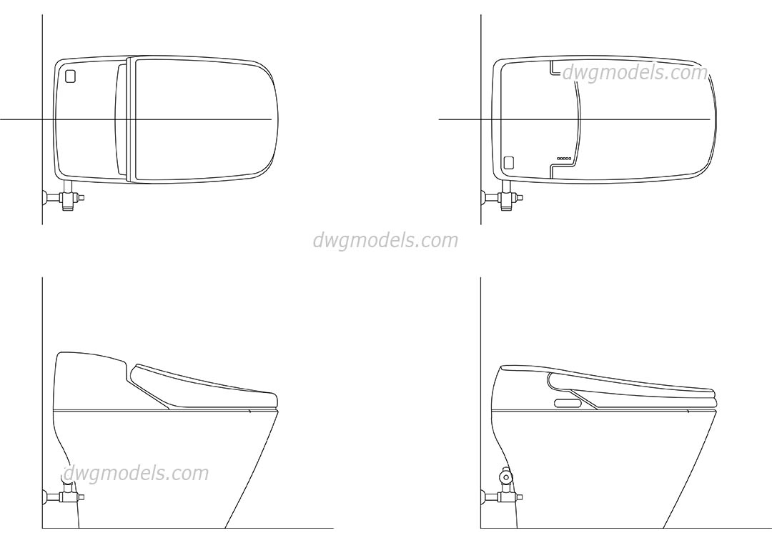 Electronic Bidet Toilet dwg, CAD Blocks, free download.