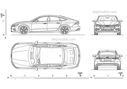 Audi A7 - DWG, CAD Block, drawing
