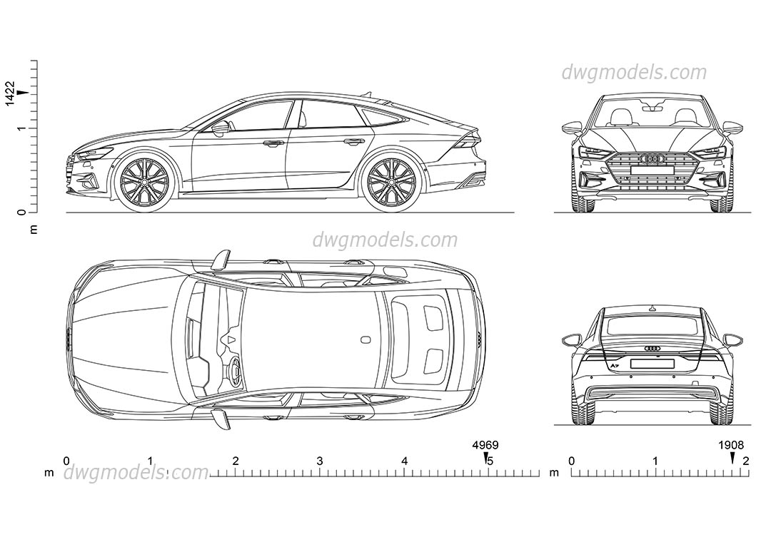 Audi A7 Drawings Dimensions Download Autocad Blocks 2d