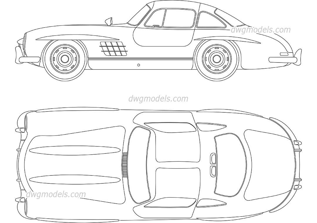 Mercedes Benz 300sl 1955 Car Top View Dimensions Dwg Blocks