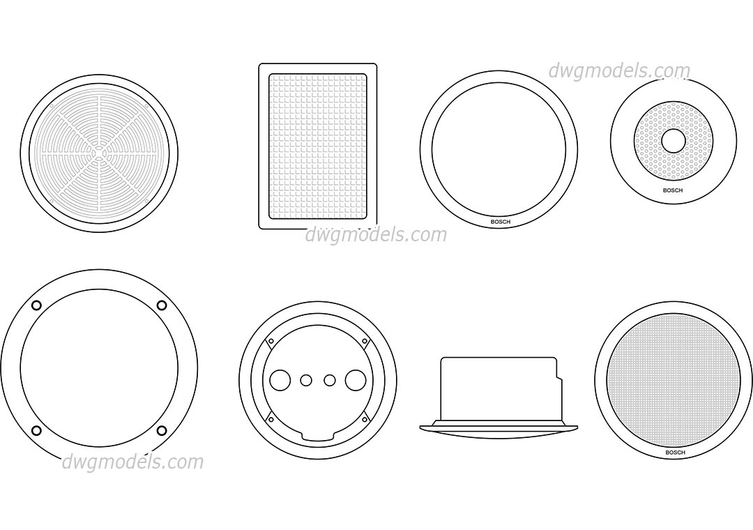 Ceiling Speakers dwg, CAD Blocks, free download.
