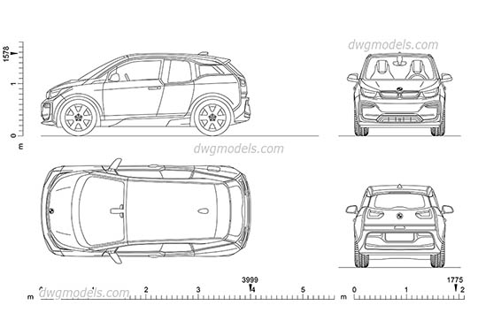 BMW i3 - DWG, CAD Block, drawing