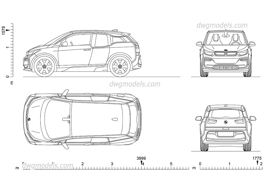 bmw i3 dimensions  2d cad drawings  autocad model download