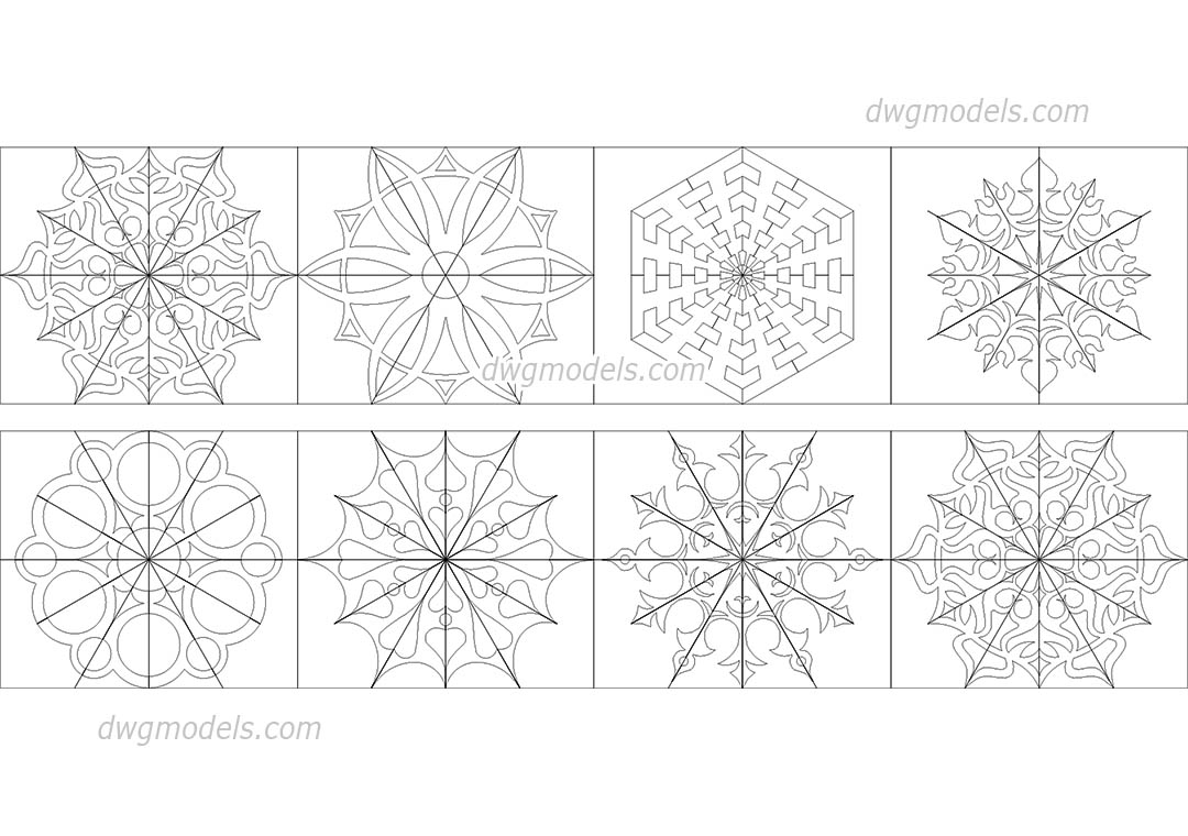 Snowflakes dwg, CAD Blocks, free download.