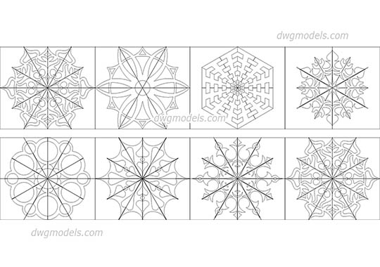 Snowflakes dwg, cad file download free.