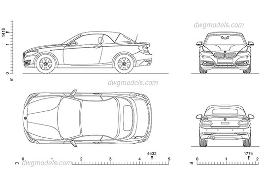 BMW 2 Series Cabrio AutoCAD blocks