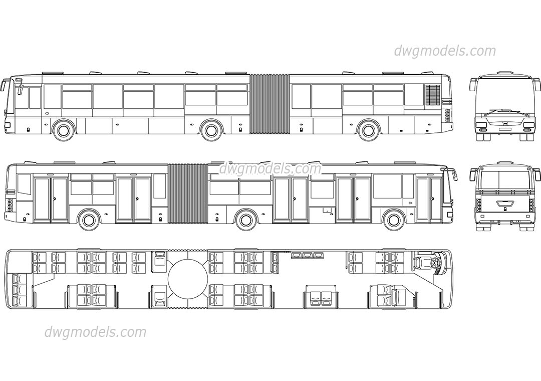 SOR NB 18 City Bus dwg, CAD Blocks, free download.