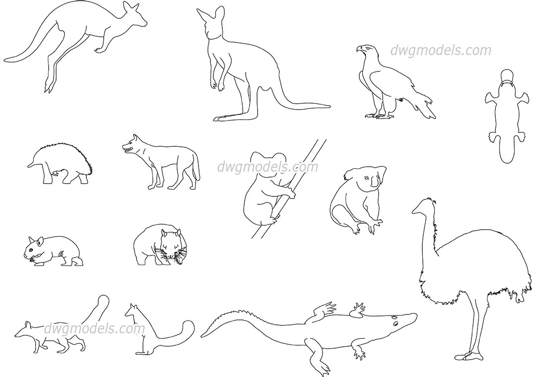 Australian Animals dwg, CAD Blocks, free download.