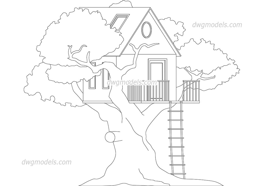 Treehouse dwg, CAD Blocks, free download.