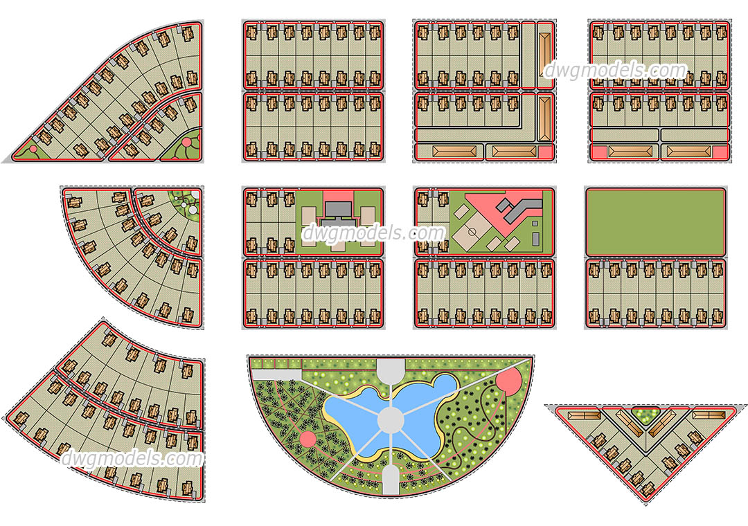 Town Planning dwg, CAD Blocks, free download.