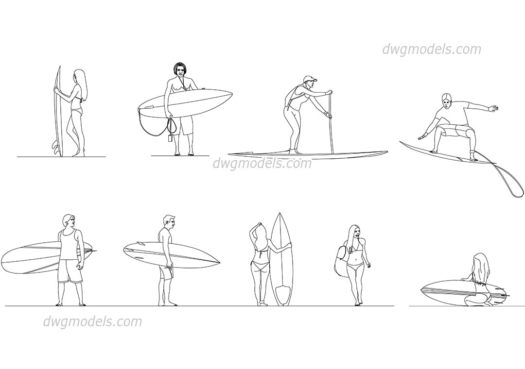Surfers dwg, CAD Blocks, free download.