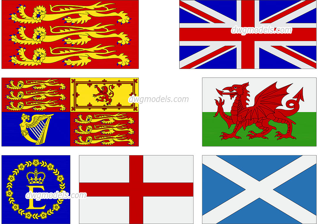 English Flags dwg, CAD Blocks, free download.
