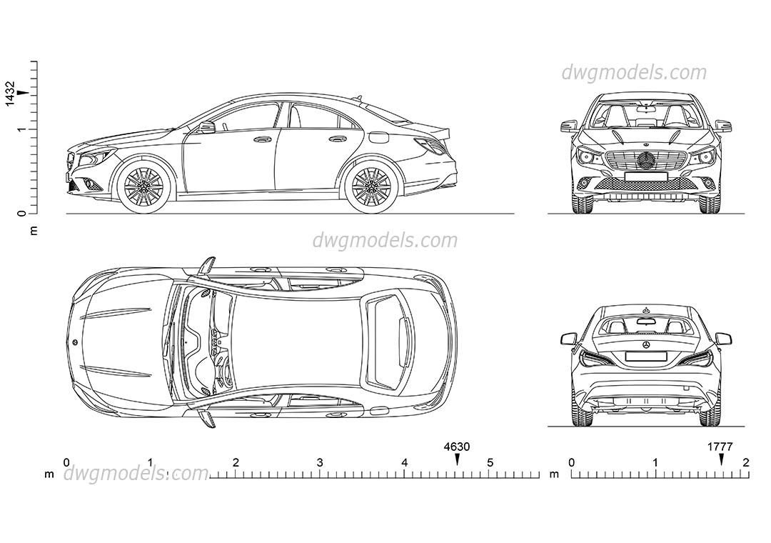 Mercedes-Benz CLA (2013) dwg, CAD Blocks, free download.