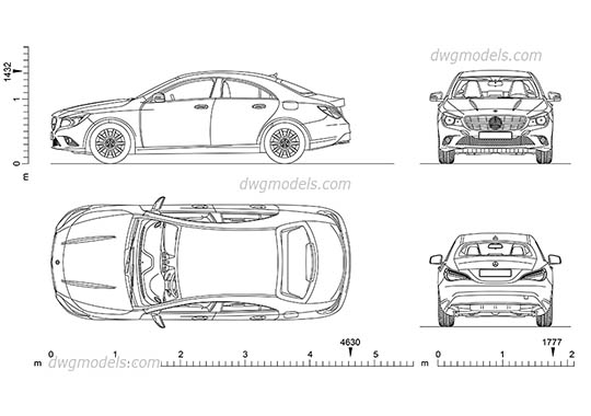 Mercedes-Benz CLA (2013) AutoCAD blocks