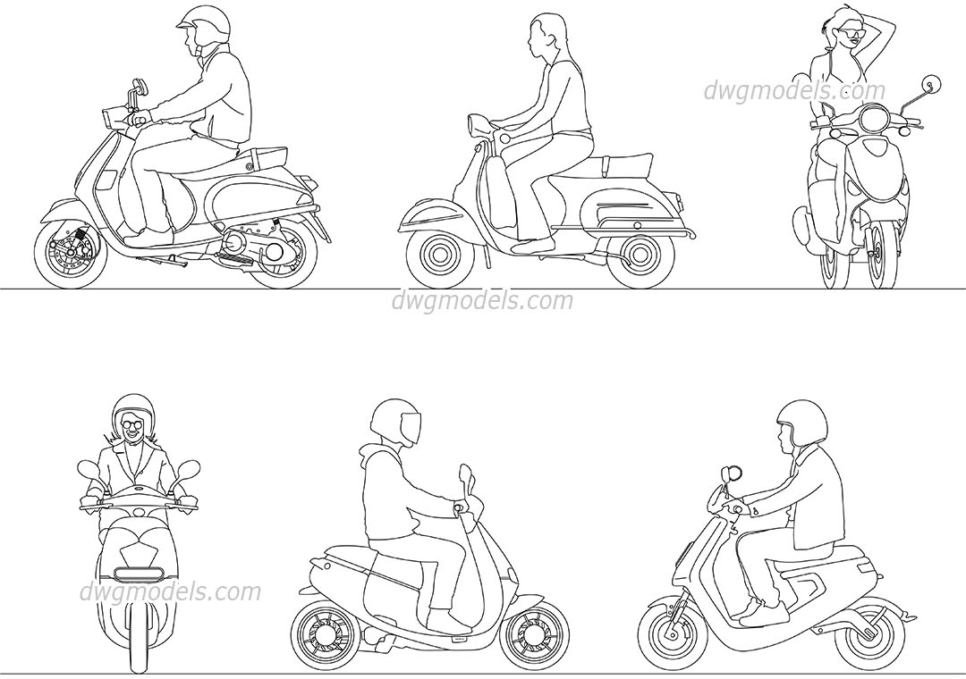 Scooter Driver dwg, CAD Blocks, free download.