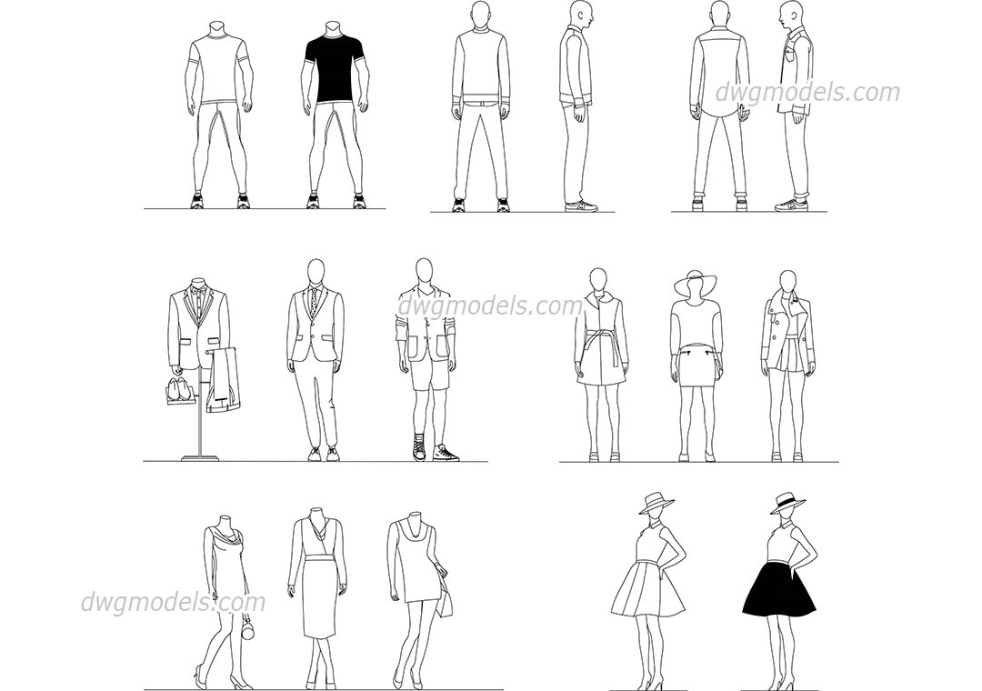 Mannequins Set dwg, CAD Blocks, free download.