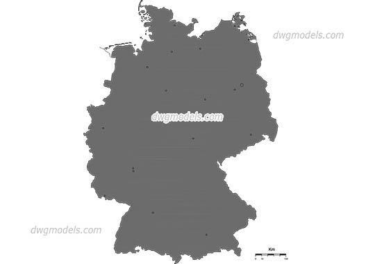 Map of Germany free dwg model