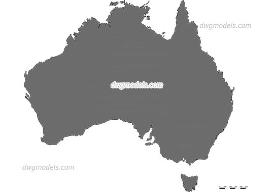 Map of Australia free dwg model