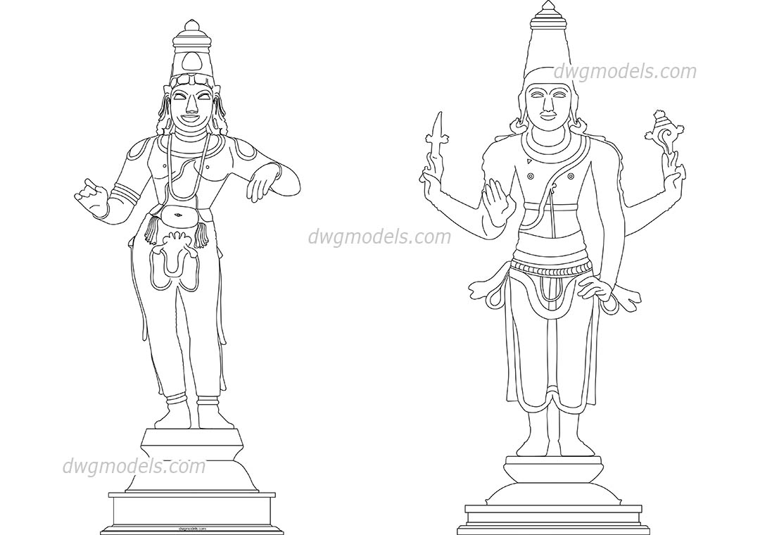 Hindu Deities dwg, CAD Blocks, free download.