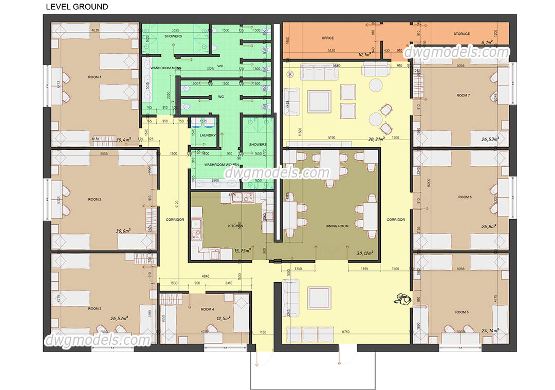 Hostel plan free autocad drawing cad file download for Room layout design online