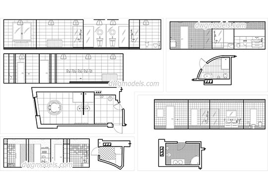 Bathroom Plans and Elevations dwg, cad file download free.