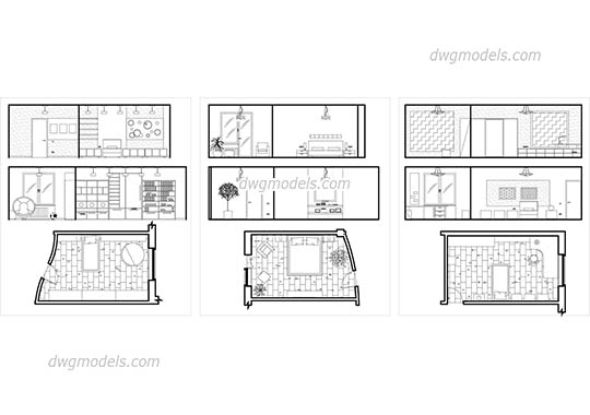 Bedroom Plans and Elevations free dwg model