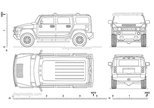 Hummer H2 (2002) - DWG, CAD Block, drawing